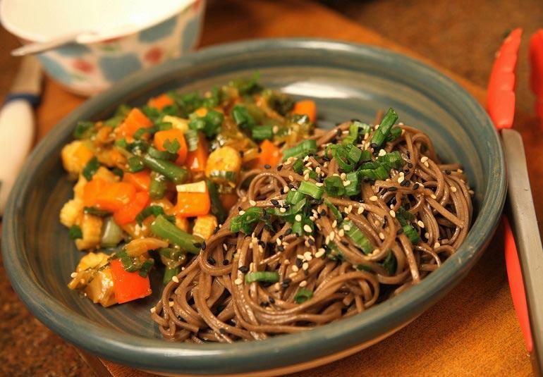 Stir Fried Vegetables With Sesame Soba Noodles
