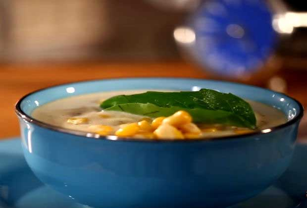 Corn And Basil Soup For A Rainy Day