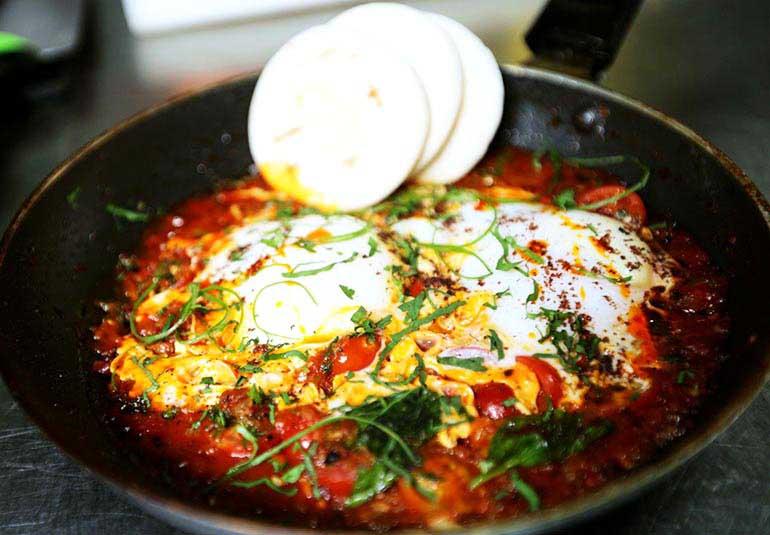 Israeli Breakfast: Duck Eggs Shakshouka