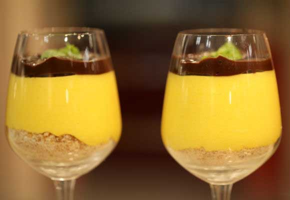 Summer Special: Mango Pudding With Chocolate Ganache