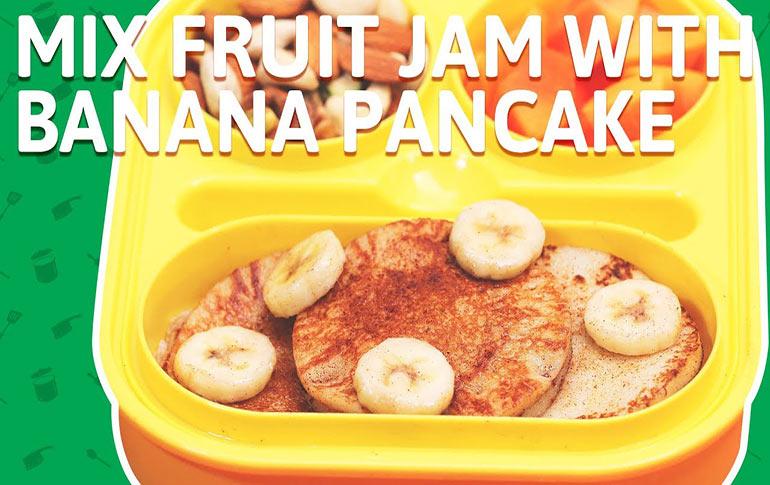Mixed Fruit Jam And Banana Pancakes