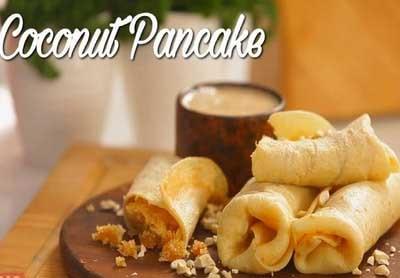 Jaggery Stuffed Coconut Pancake