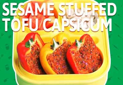 Sesame Tofu Stuffed Capsicum