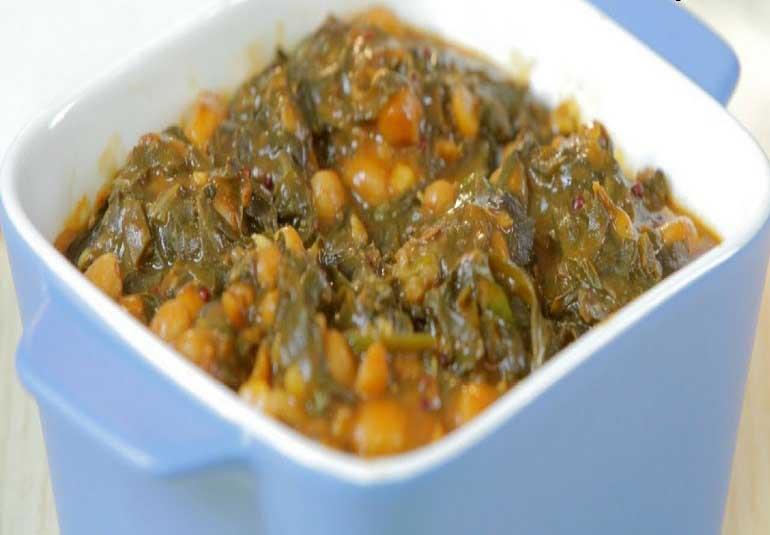 Arbi Ki Sabzi - Colocasia Leaves Curry