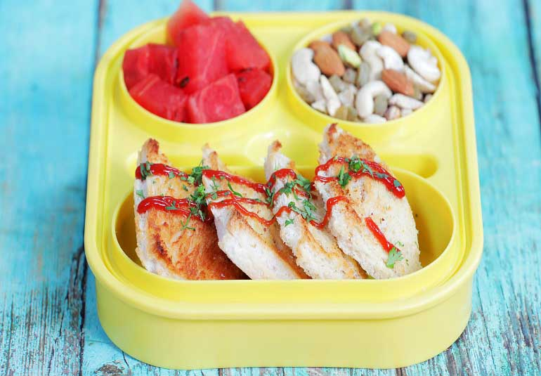 Baked Bread Pakora - Healthy Snack Recipe For Kids Lunch Box