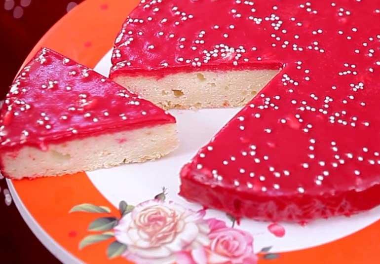 Valentines - Eggless Red Ganache White Chocolate Cake