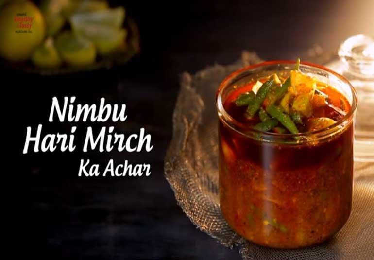 Nimbu Hari Mirch Ka Achar   Lemon Green Chilli Pickle Recipe