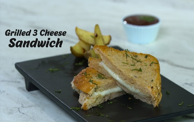 Grilled 3 Cheese Sandwich At Home
