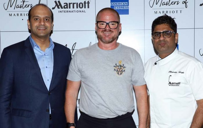 Chef Heston Blumenthal with Chef Himanshu Taneja, Culinary Director - India, Marriott International and Neeraj Govil, Area Vice President - South Asia, Marriott International