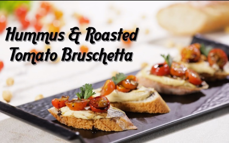 Snack Recipe: Easy Hummus & Roasted Tomato Bruschetta
