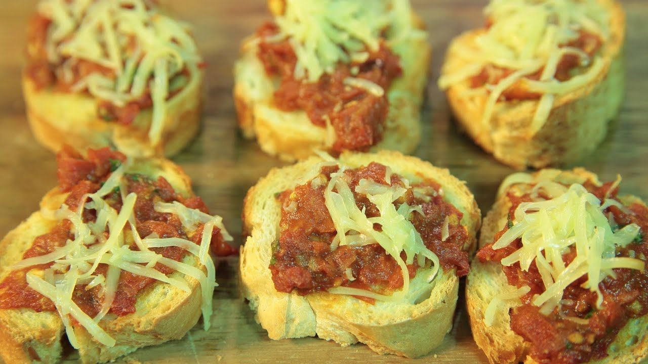 Tomato Crostini - Bruschetta Recipe - Toasted Bread With Tapenade By Maithily Kale